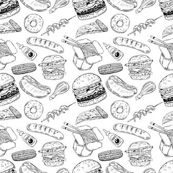 手でシームレスなパターンには、ファーストフードが描かれています。ハンバーガー、ドーナツ、ホットドッグ、中華料理。図
