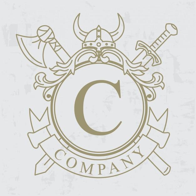 バイキングの紋章、王冠の手描き