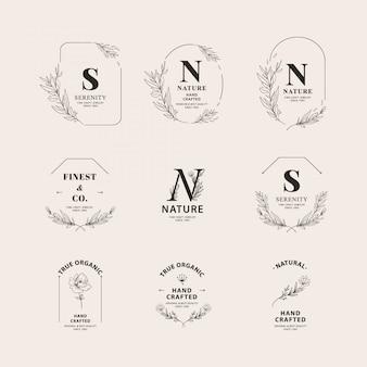 手描き植物ロゴコレクションセット