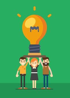 Группа деловых людей, занимающих лампочку