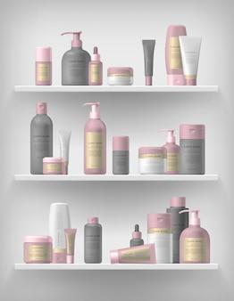 現実的な化粧品ブランドモックアップセット