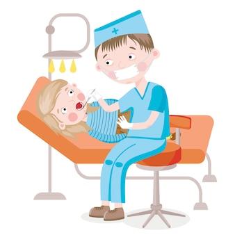 Девушка на стоматологическом кресле проверяется