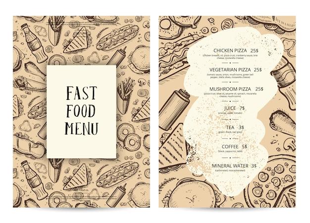 Шаблон оформления меню ресторана питания