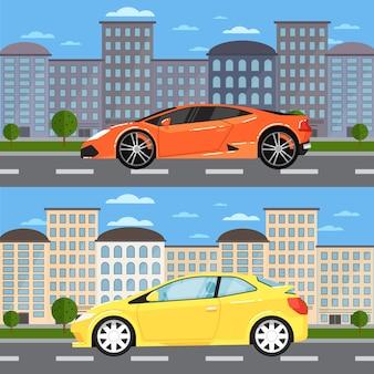 Спортивный автомобиль и универсальный автомобиль в городском пейзаже