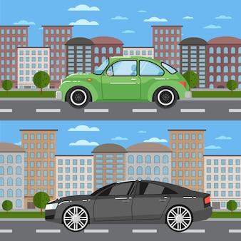 Винтажный автомобиль и комфортный седан в городском пейзаже