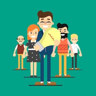 Иллюстрация успеха команды с деловыми людьми