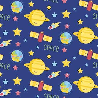 Космические объекты мультфильм бесшовные модели