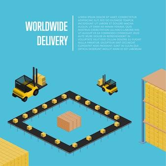 Доставка по всему миру изометрии