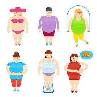 太った女性の面白い漫画のキャラクターセット