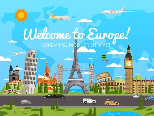 Добро пожаловать в европу плакат с известными достопримечательностями