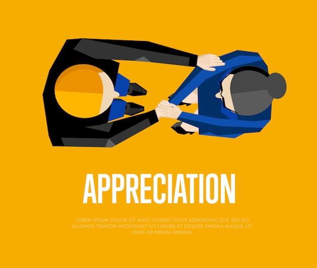 Шаблон благодарности и иллюстрация вид сверху партнеров рукопожатия