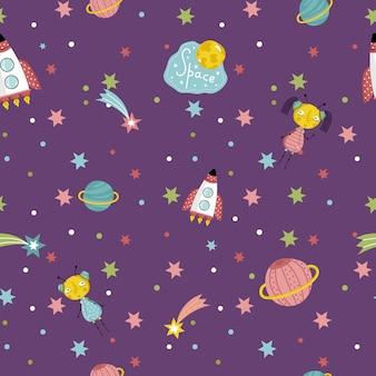 宇宙旅行のシームレスなパターンベクトル漫画