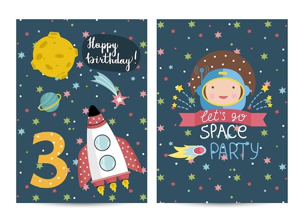 お誕生日おめでとうベクトル漫画グリーティングカード