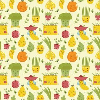果物と野菜料理のシームレスパターン