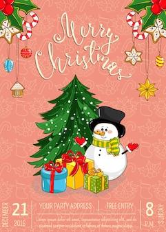 メリークリスマスのグリーティングカードまたはホリデーパーティープロモーションの招待状