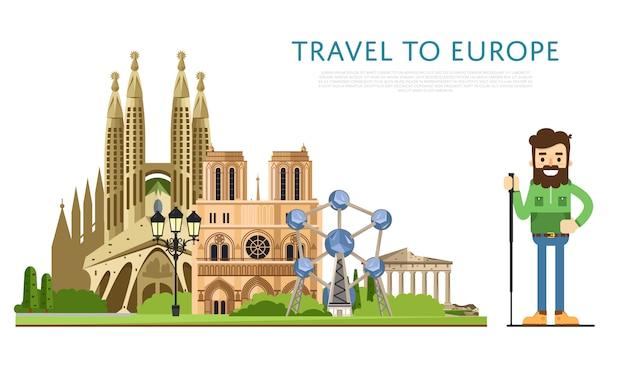 Путешествие в европу баннер с известными достопримечательностями
