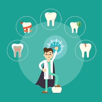 Лечение зубов, мужской стоматолог с молярами вокруг