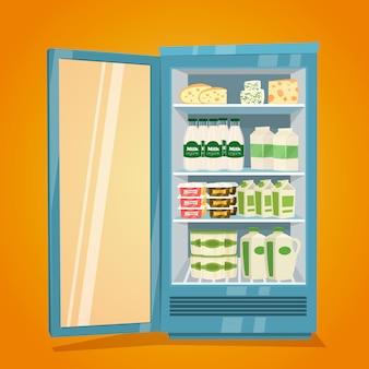 乳製品がいっぱいの冷蔵庫