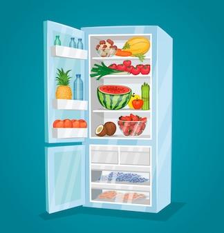 Холодильник, полный еды в плоском стиле