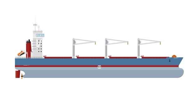 白で隔離される貨物船
