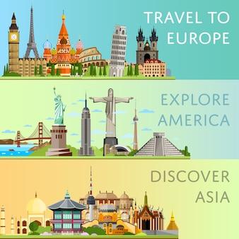 有名なアトラクションを備えた世界旅行セット