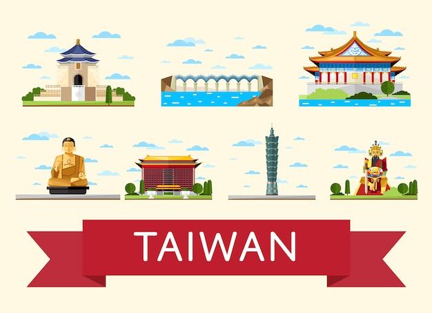 Концепция путешествий на тайване со знаменитыми достопримечательностями