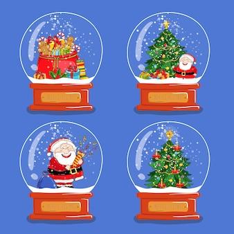 Коллекция рождественских стеклянных снежных глобусов