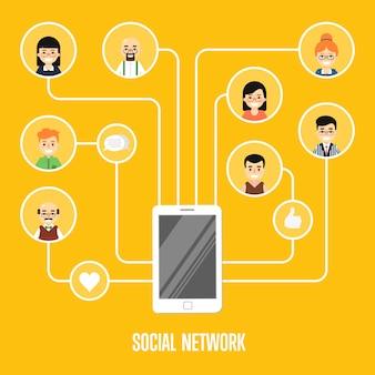 接続されている人々とソーシャルネットワークの図