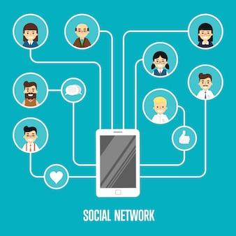 Иллюстрация социальной сети с подключенными людьми