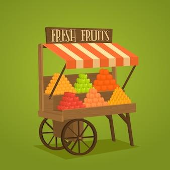 野菜や果物の車輪の上のストリートショップ