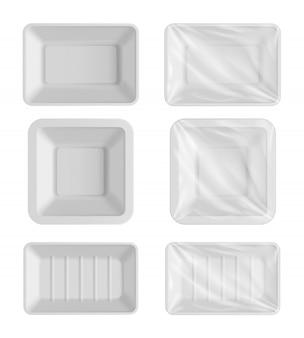 Пустой шаблон упаковки белый пищевой контейнер