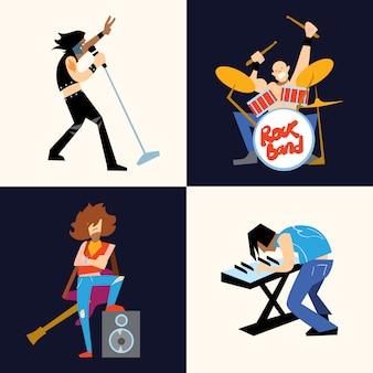 Рок-группа музыкальная группа векторная иллюстрация