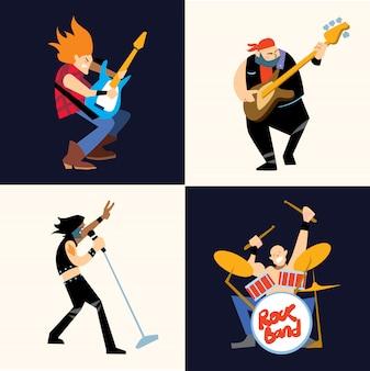 ロックバンド音楽グループのベクトル図