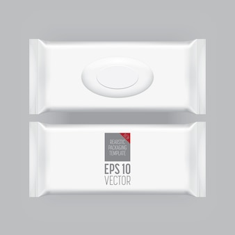 灰色に分離された空白の包装テンプレート。