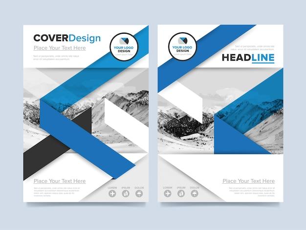 ビジネスや代理店のためのモダンな青と白のデザインの企業チラシテンプレート