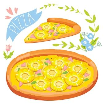 白い背景で隔離のピザのスライス