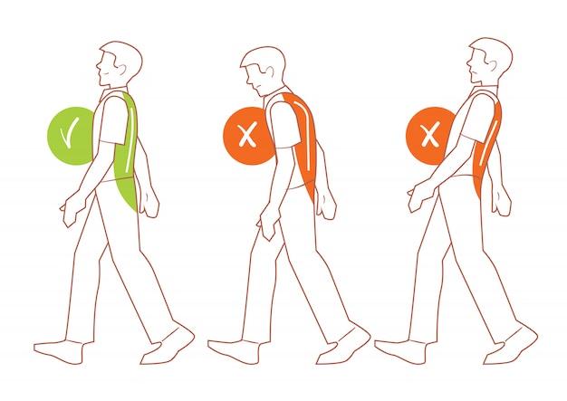 正しい背骨の姿勢、悪い歩行位置