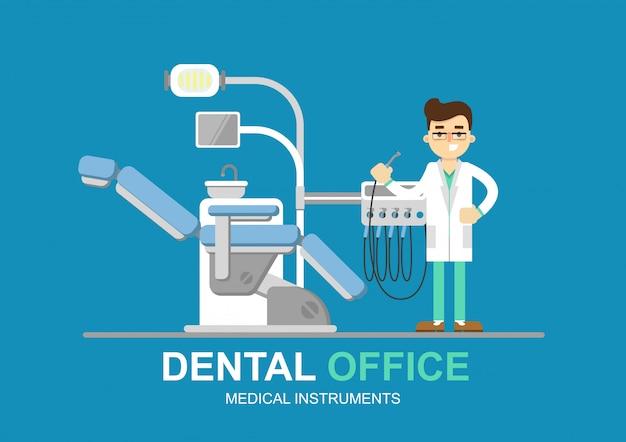 分離された歯科医の椅子