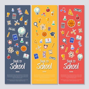 Обратно в школу баннер с плоскими иконками