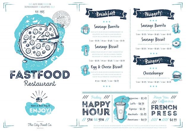 Шаблон меню ресторана быстрого питания кафе
