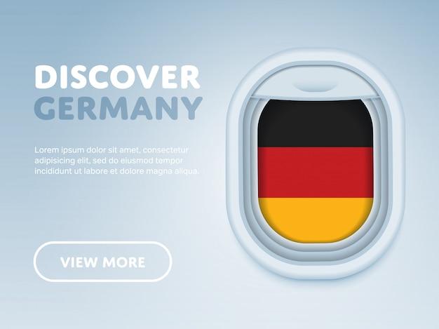 Путешествие на самолете. плоский баннер дизайн вектор