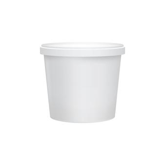 白い背景で隔離のヨーグルトコンテナー