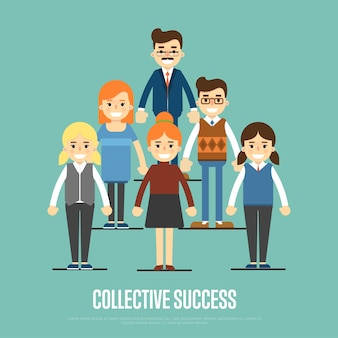 Коллективный баннер успеха с деловыми людьми