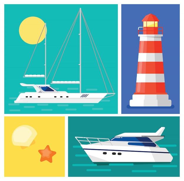 セーリングヨット。灯台。マリンタイム休暇。