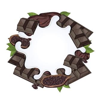 チョコレートで分離されたヨーグルトスプラッシュ