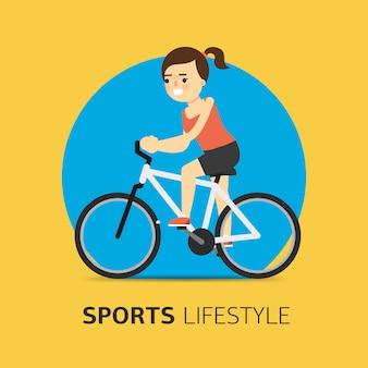 Иллюстрация девушка на велосипеде, плоская