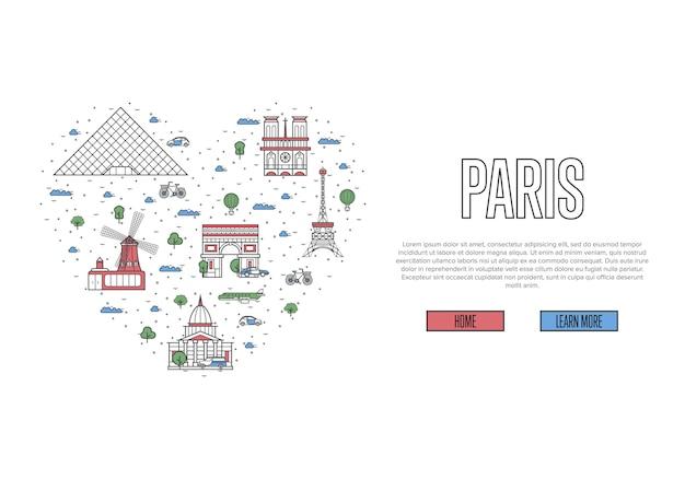 Я люблю парижскую веб-страницу в линейном стиле