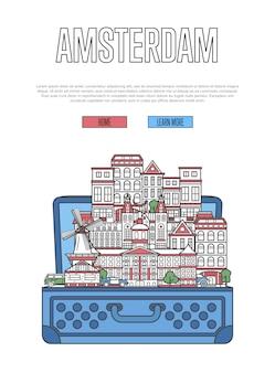 オープンスーツケースとアムステルダム市のウェブページ