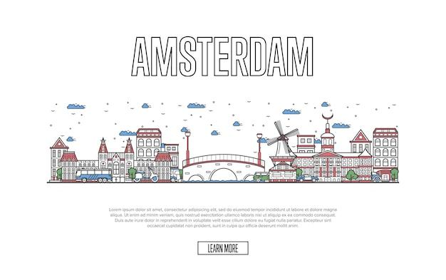 Путешествие амстердам веб-страница в линейном стиле