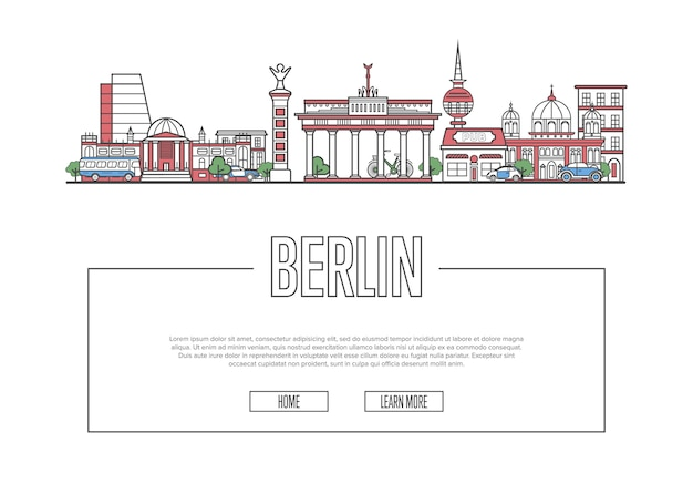 線形スタイルで旅行ベルリンのウェブページ